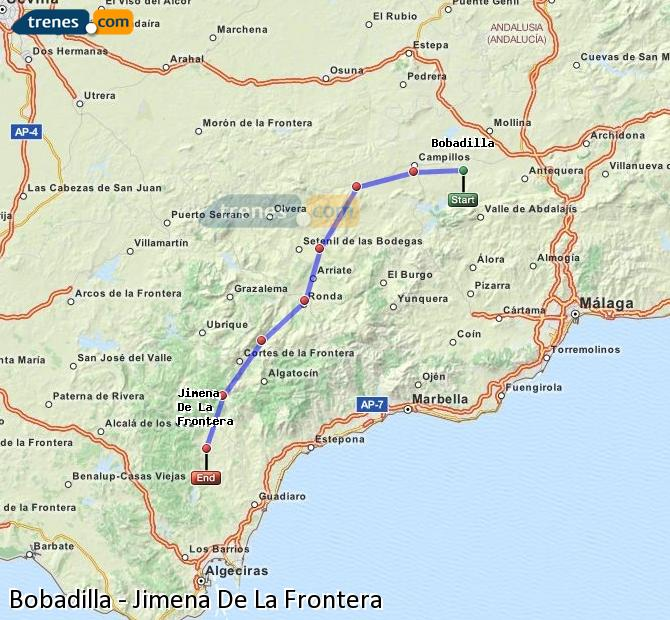 Enlarge map Trains Bobadilla to Jimena De La Frontera