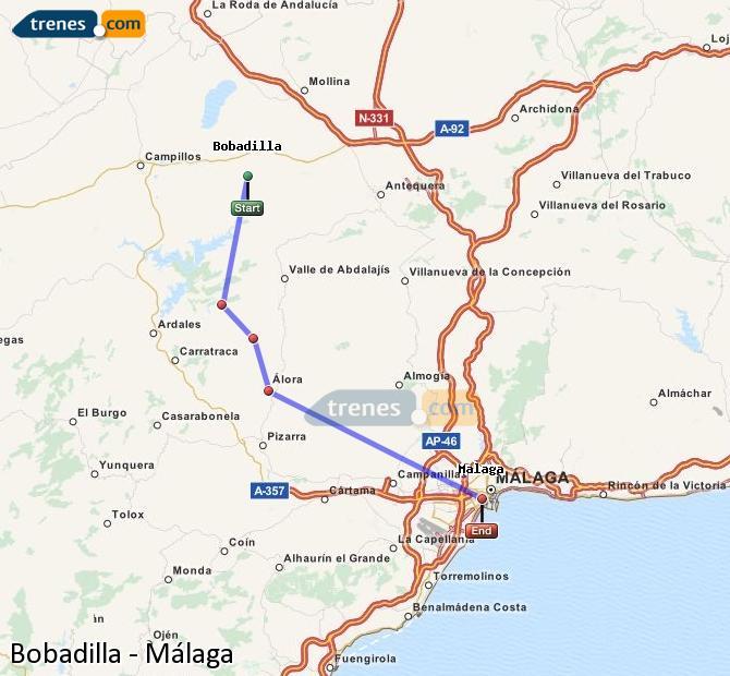 Enlarge map Trains Bobadilla to Malaga
