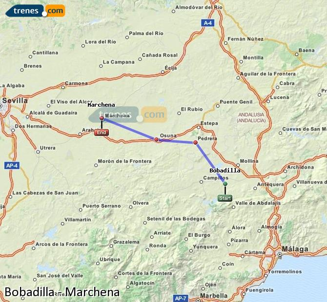 Enlarge map Trains Bobadilla to Marchena
