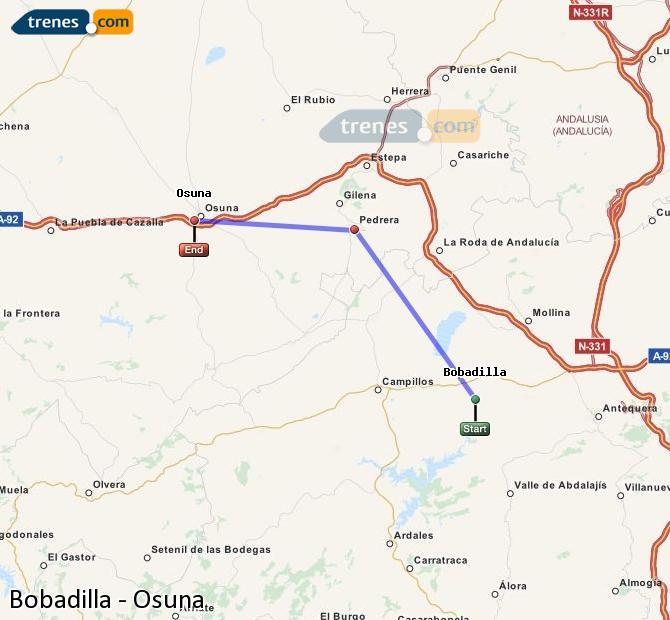 Enlarge map Trains Bobadilla to Osuna