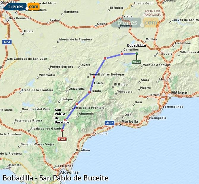 Enlarge map Trains Bobadilla to San Pablo de Buceite