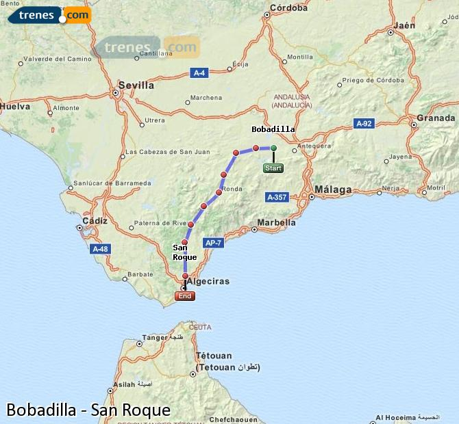 Enlarge map Trains Bobadilla to San Roque