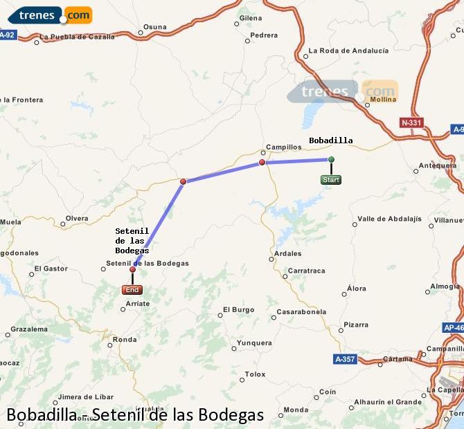 Enlarge map Trains Bobadilla to Setenil de las Bodegas