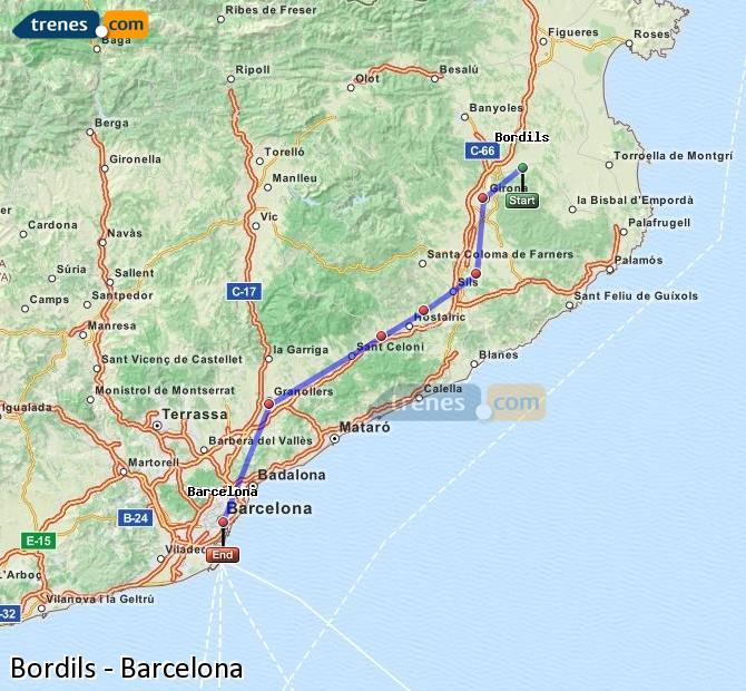 Karte vergrößern Züge Bordils Barcelona