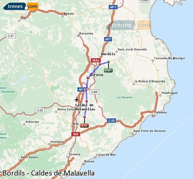 Ampliar mapa Trenes Bordils Caldes de Malavella