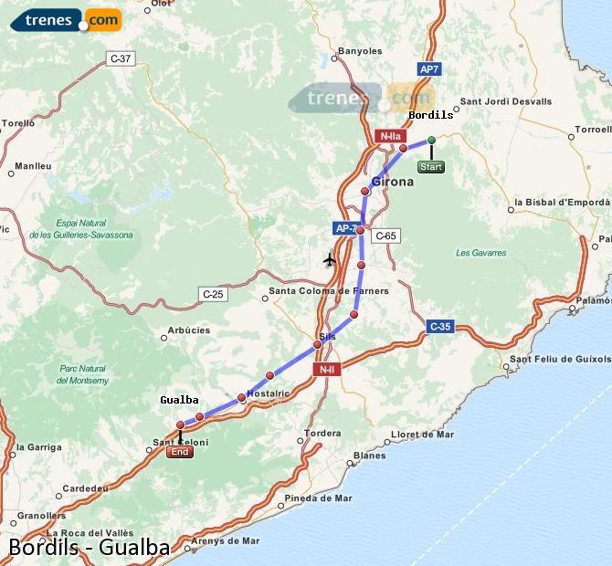 Karte vergrößern Züge Bordils Gualba