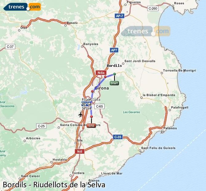 Ampliar mapa Trenes Bordils Riudellots de la Selva