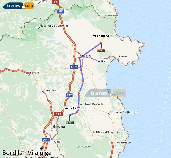 Ampliar mapa Trenes Bordils Vilajuiga