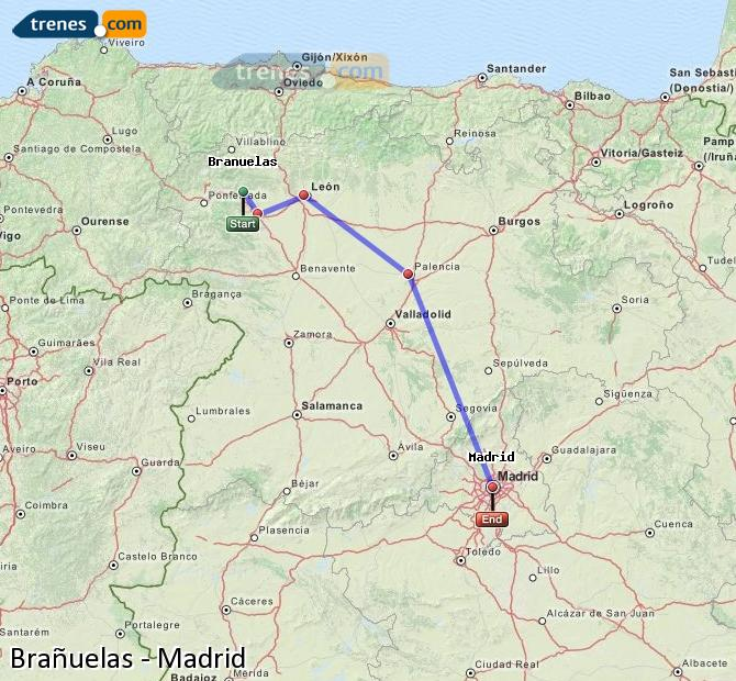 Karte vergrößern Züge Brañuelas Madrid