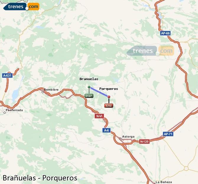 Ingrandisci la mappa Treni Brañuelas Porqueros