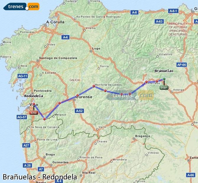 Ingrandisci la mappa Treni Brañuelas Redondela