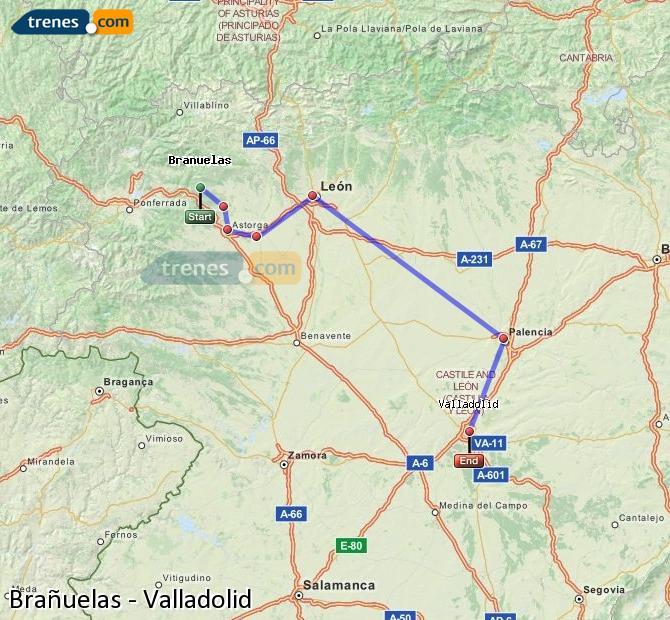 Ingrandisci la mappa Treni Brañuelas Valladolid
