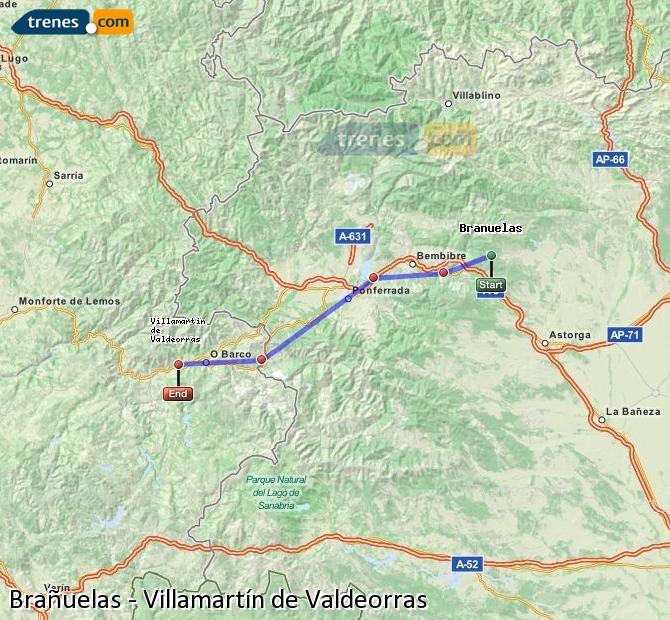 Karte vergrößern Züge Brañuelas Villamartín de Valdeorras