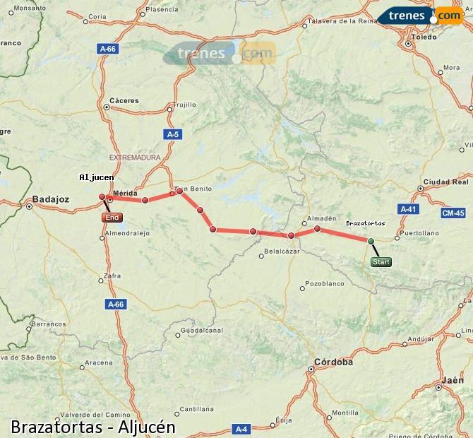 Ingrandisci la mappa Treni Brazatortas Aljucén