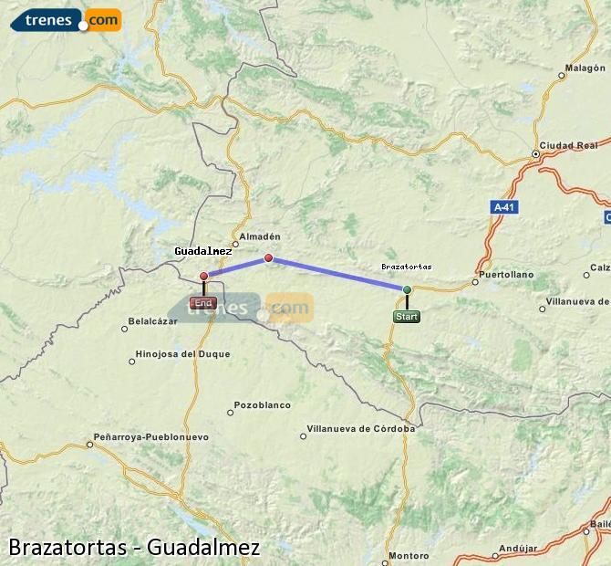 Ampliar mapa Comboios Brazatortas Guadalmez