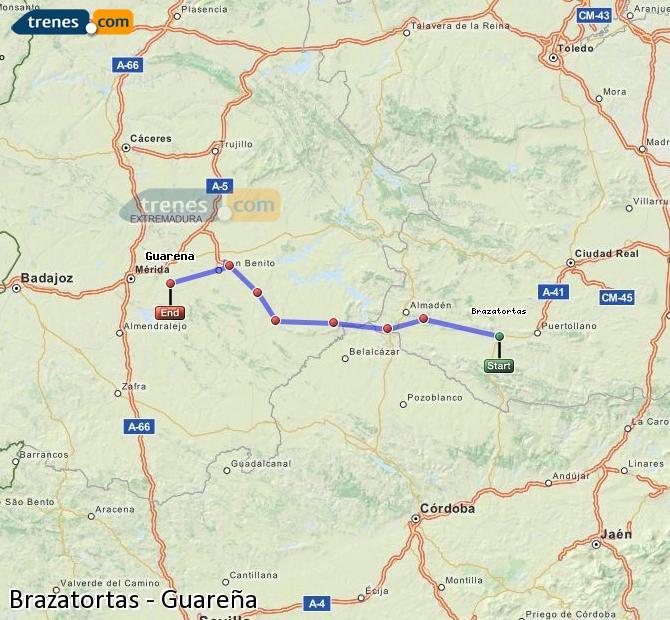 Ampliar mapa Comboios Brazatortas Guareña