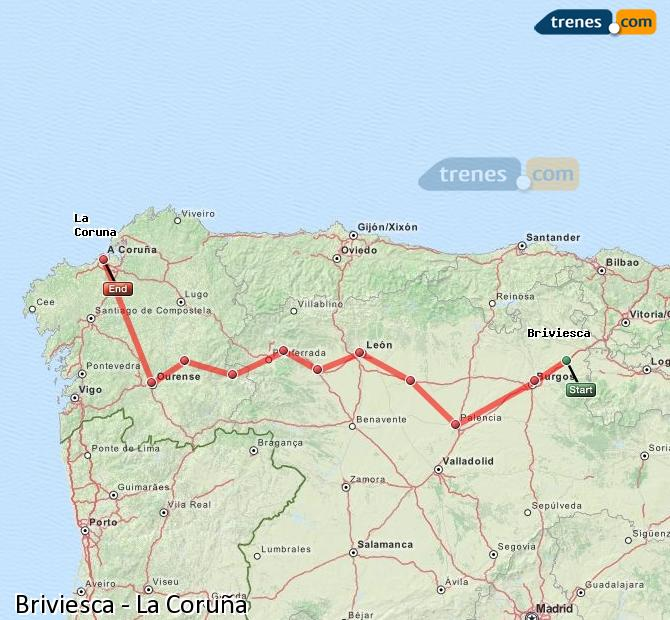 Karte vergrößern Züge Briviesca La Coruña