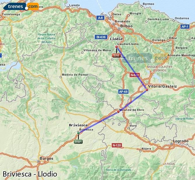 Karte vergrößern Züge Briviesca Llodio