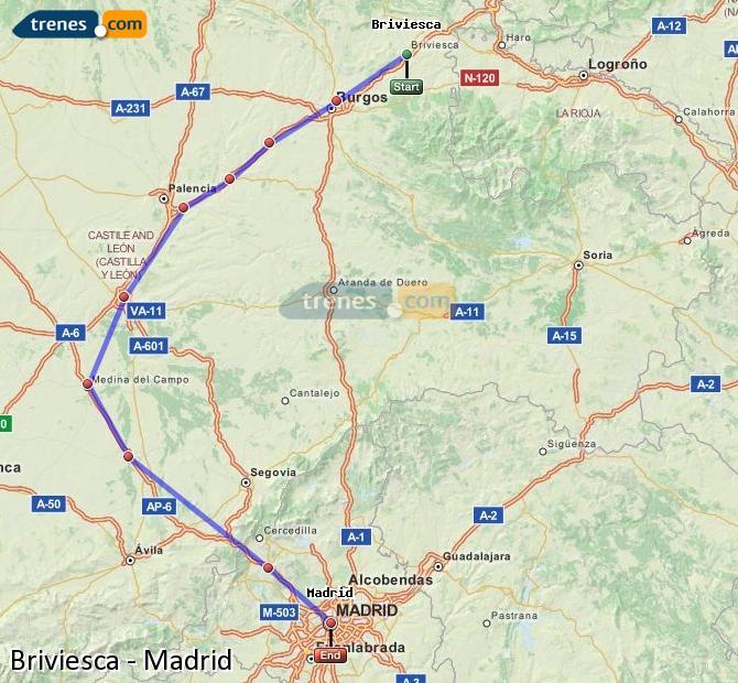 Karte vergrößern Züge Briviesca Madrid