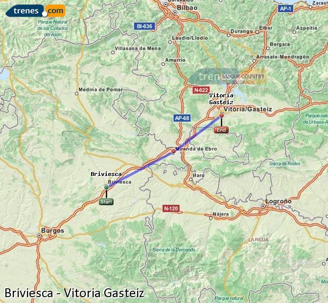 Karte vergrößern Züge Briviesca Vitoria Gasteiz