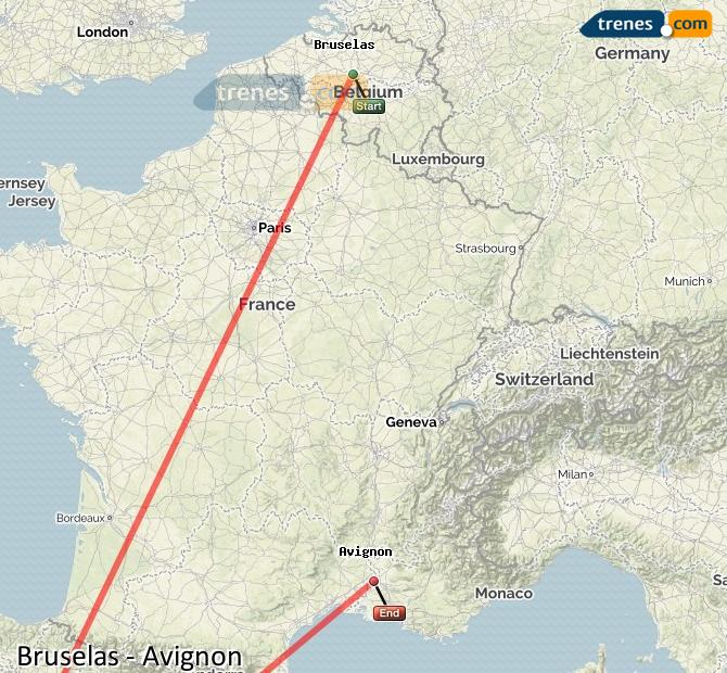 Ingrandisci la mappa Treni Bruxelles Avignon