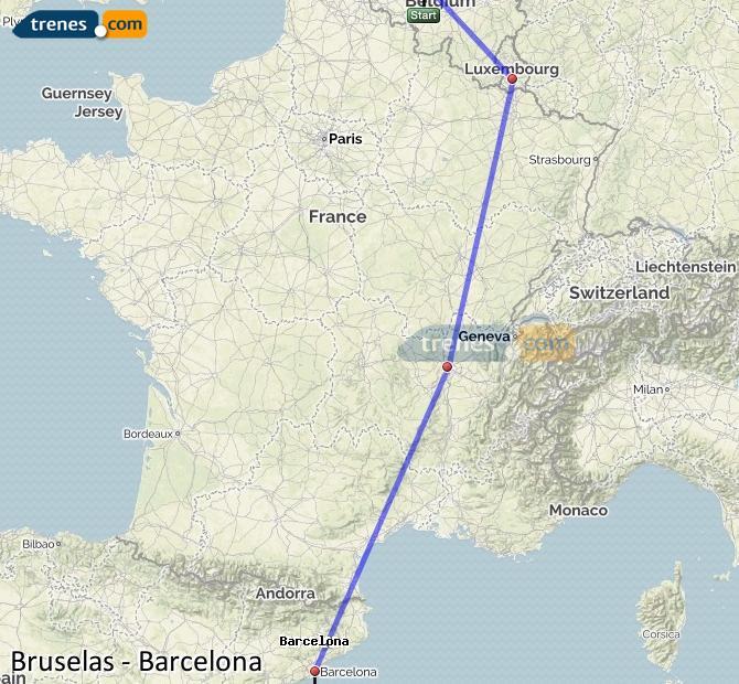 Karte vergrößern Züge Brüssel Barcelona