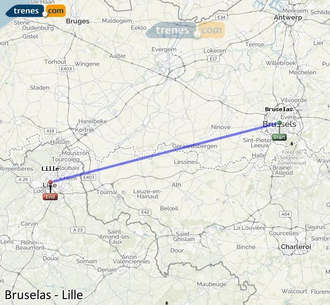 Agrandir la carte Trains Bruxelles Lille