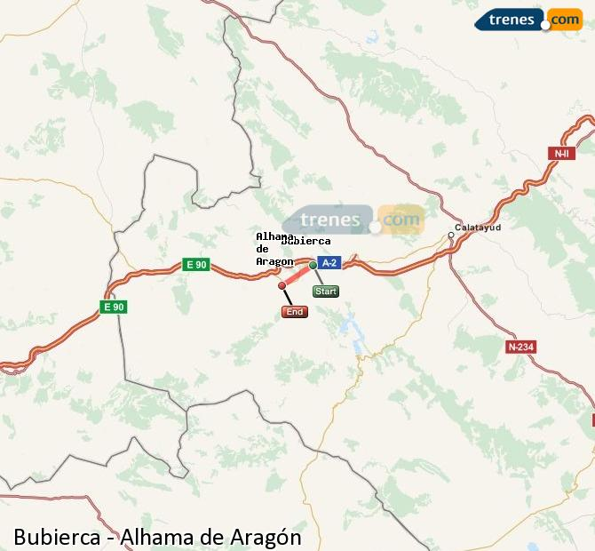 Ampliar mapa Comboios Bubierca Alhama de Aragón