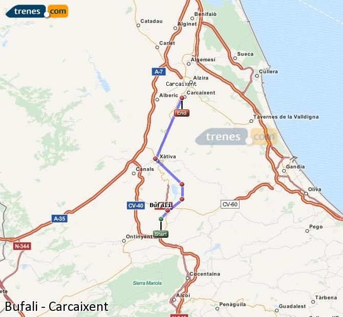 Ampliar mapa Comboios Bufali Carcaixent