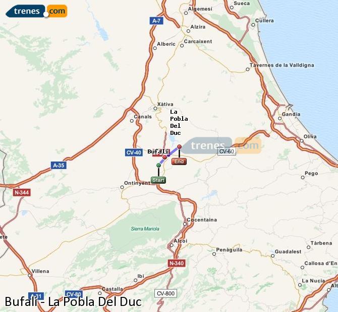 Enlarge map Trains Bufali to La Pobla Del Duc