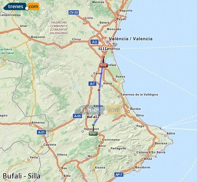 Enlarge map Trains Bufali to Silla