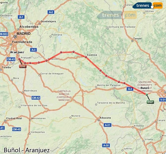 Enlarge map Trains Buñol to Aranjuez