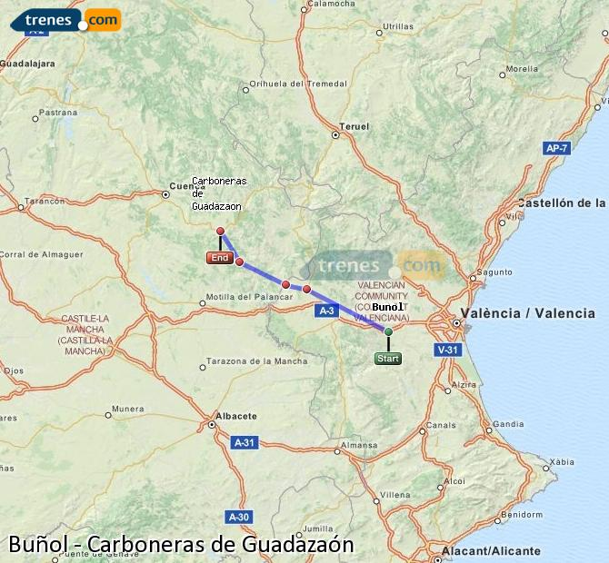 Enlarge map Trains Buñol to Carboneras of Guadazaón