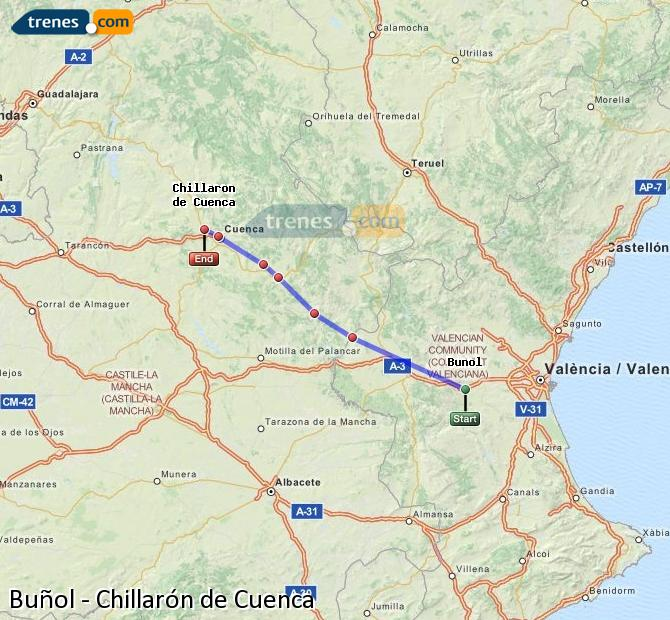 Ampliar mapa Comboios Buñol Chillarón de Cuenca