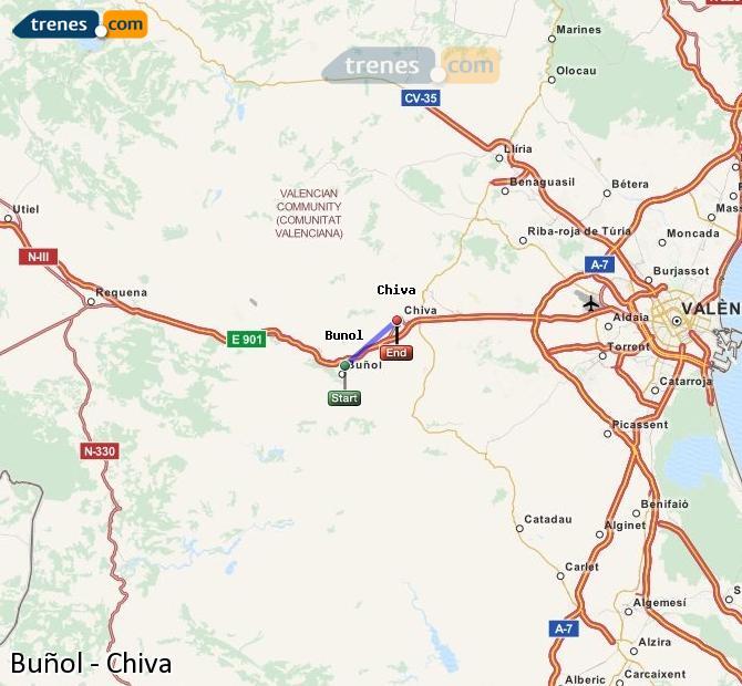 Karte vergrößern Züge Buñol Chiva