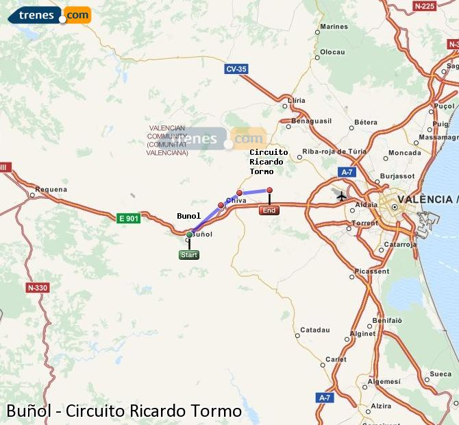 Enlarge map Trains Buñol to Ricardo Tormo Circuit