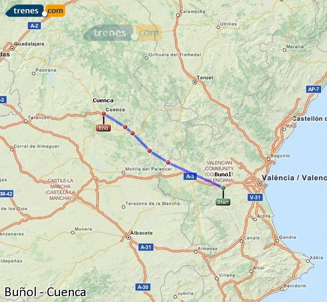 Enlarge map Trains Buñol to Cuenca