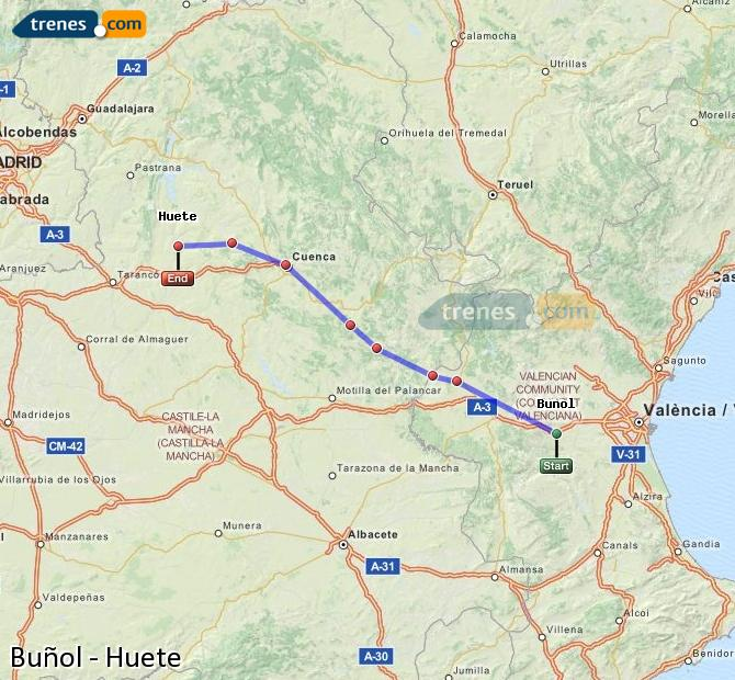 Enlarge map Trains Buñol to Huete