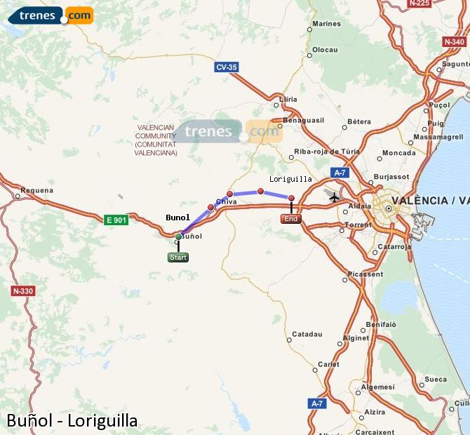 Enlarge map Trains Buñol to Loriguilla