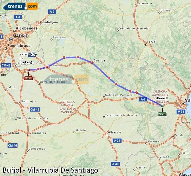 Agrandir la carte Trains Buñol Vilarrubia De Santiago