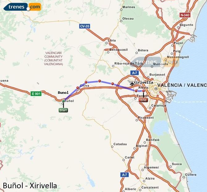 Ampliar mapa Trenes Buñol Xirivella