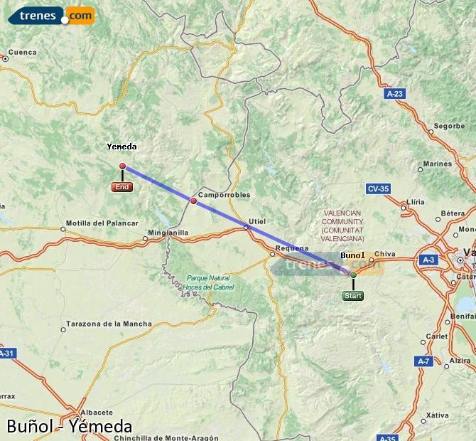 Ampliar mapa Trenes Buñol Yémeda