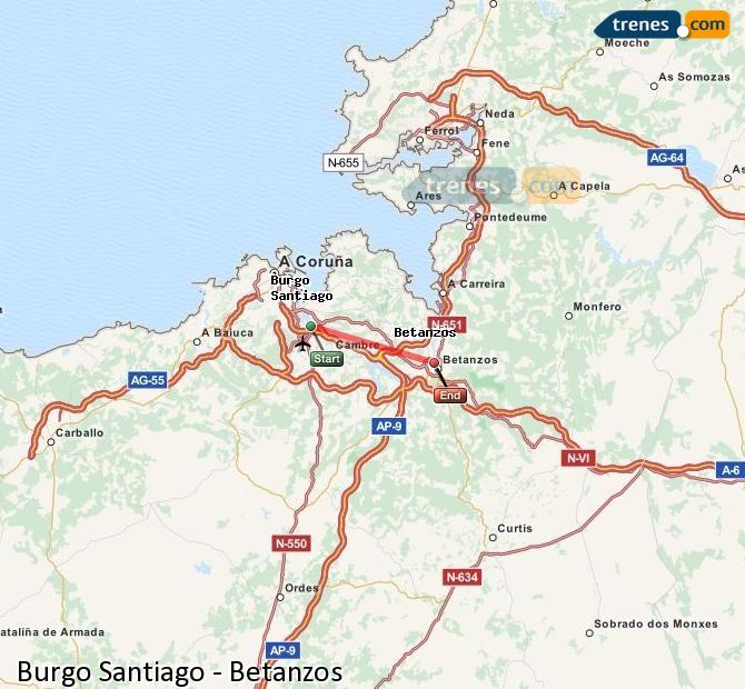 Karte vergrößern Züge Burgo Santiago Betanzos