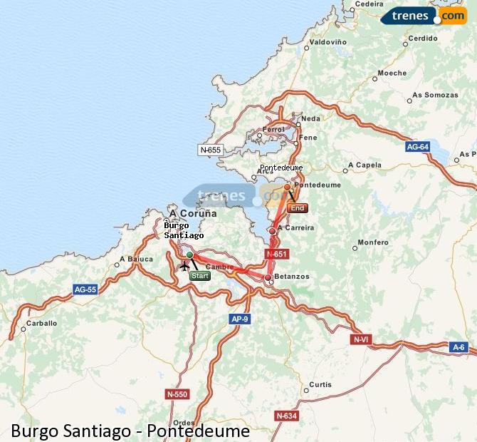 Ampliar mapa Trenes Burgo Santiago Pontedeume