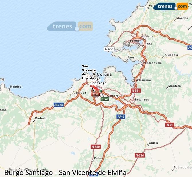 Enlarge map Trains Burgo Santiago to San Vicente de Elviña