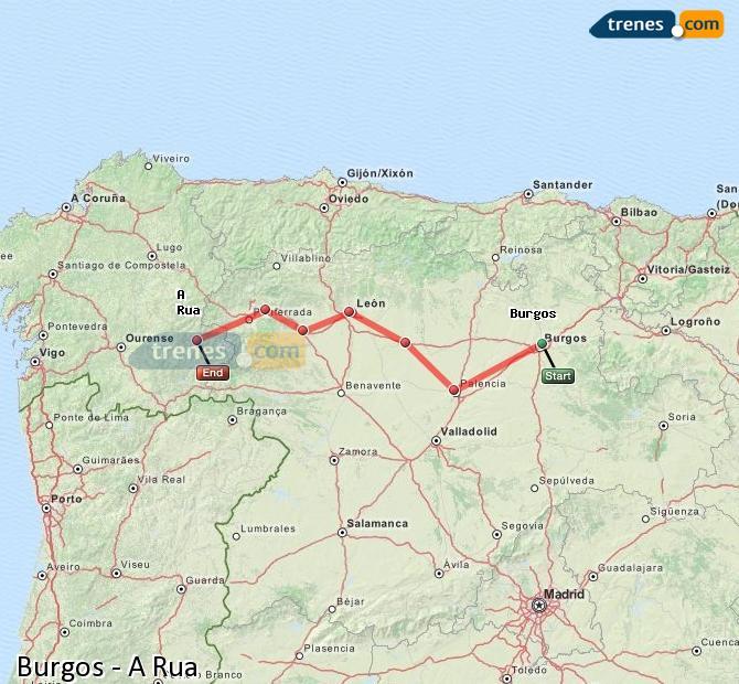 Ingrandisci la mappa Treni Burgos A Rua
