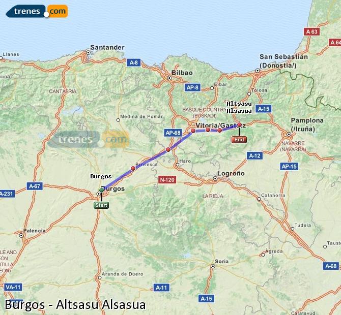 Karte vergrößern Züge Burgos Altsasu Alsasua