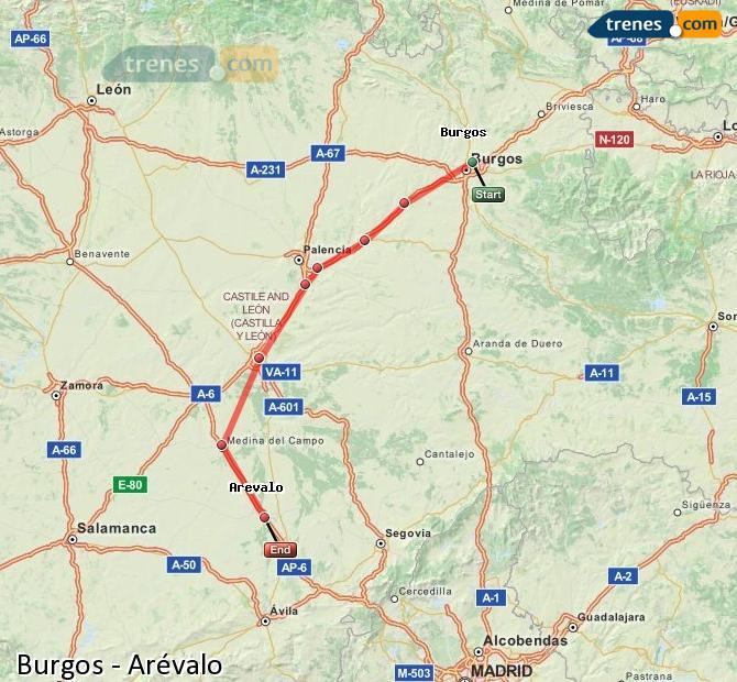 Ingrandisci la mappa Treni Burgos Arévalo