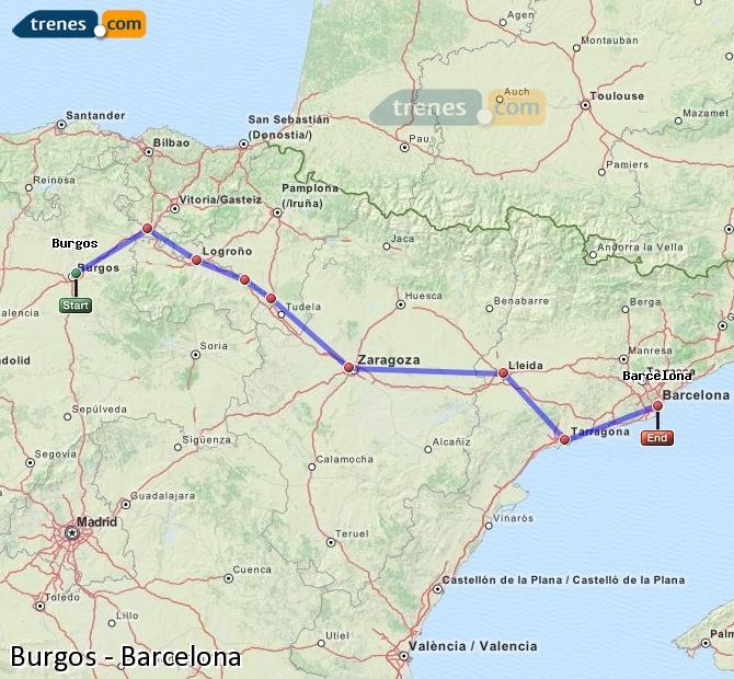 Ampliar mapa Trenes Burgos Barcelona