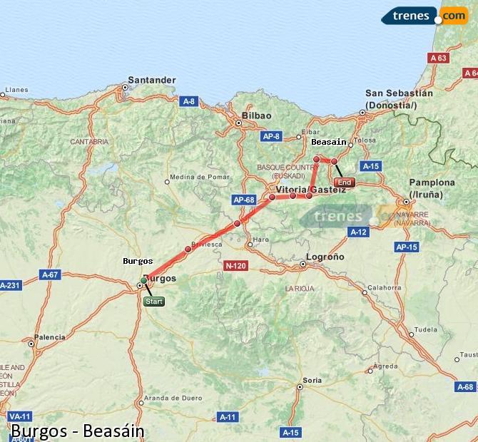 Enlarge map Trains Burgos to Beasin